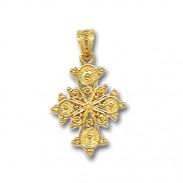 18K Solid Gold Filigree Budded Cross A/Small