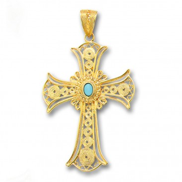 18K Solid Gold and Turquoise Filigree Large Byzantine Cross Pendant