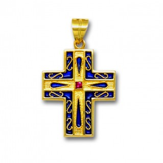 18K Solid Gold and Blue Enamel Ornate Latin Cross Pendant with Ruby - A/L