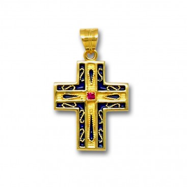 18K Solid Gold and Blue Enamel Ornate Latin Cross Pendant with Ruby - A/M