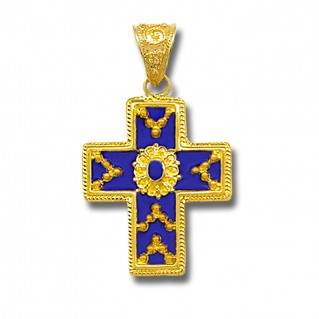 18K Solid Gold and Blue Enamel Ornate Byzantine Cross Pendant -B