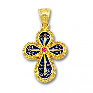 18K Solid Gold and Hot Enamel Ornate Rounded Cross Pendant with Ruby A