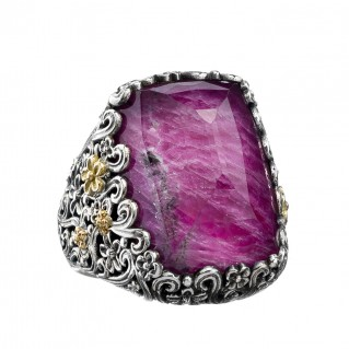 Gerochristo 2846N ~ Solid Gold & Silver Medieval Large Cocktail Ring with Doublet Stone
