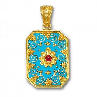 18K Solid Gold and Turquoise Enamel Ornate Large Rectangle Pendant with Ruby - A
