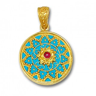 18K Solid Gold and Turquoise Enamel Ornate Large Round Pendant with Ruby - A