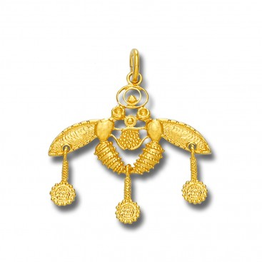 Minoan Cretan Malia Bees ~ 14K Solid Yellow Gold Pendant - M/A