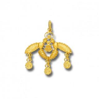 Minoan Cretan Malia Bees ~ 14K Solid Yellow Gold Pendant - S