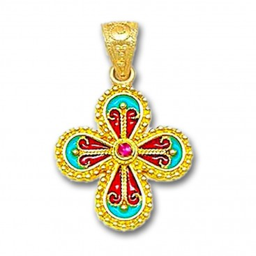 18K Solid Gold and Hot Enamel Ornate Rounded Cross Pendant with Ruby B