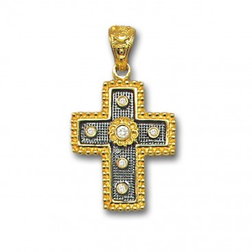 18K Solid Yellow Gold and Black Platinum Diamonds Cross Pendant B
