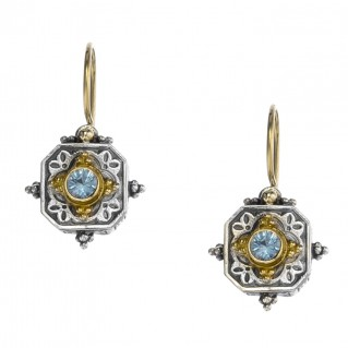 Gerochristo 1013N ~ Solid Gold & Sterling Silver - Medieval Byzantine Drop Earrings