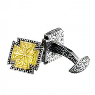 Gerochristo 7159N ~ Solid Gold & Silver Medieval-Maltese Cross Cufflinks