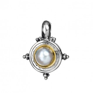 Gerochristo 1018N ~ Solid Gold & Sterling Silver Medieval-Byzantine Charm Pendant