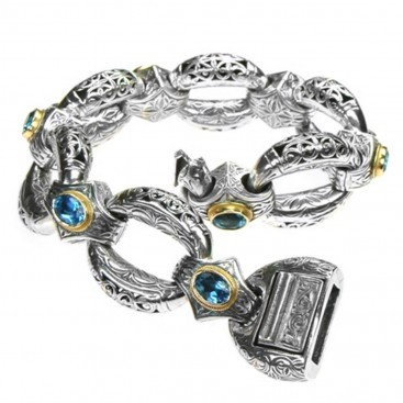 Gerochristo 6191N ~ Solid Gold & Sterling Silver Medieval-Byzantine Link Bracelet