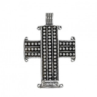 Gerochristo 5464N ~ Sterling Silver & Stones Medieval Dot Cross Pendant