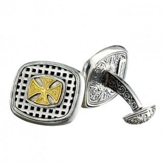 Gerochristo 7140N ~ Solid Gold & Silver Medieval Maltese Cross Cufflinks