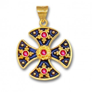 18K Solid Gold and Hot Enamel Maltese Canterbury Ruby Cross Pendant - A/L
