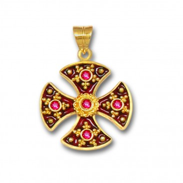 18K Solid Gold and Hot Enamel Maltese Canterbury Ruby Cross Pendant A/M