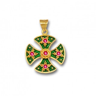 18K Solid Gold and Hot Enamel Maltese Canterbury Ruby Cross Pendant A/S
