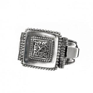 Gerochristo 2571N ~ Sterling Silver Medieval-Byzantine Filigree Ring