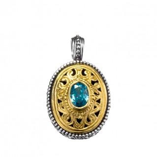Gerochristo P1245N ~ Sterling Silver & Zircon Medieval-Byzantine Charm Pendant