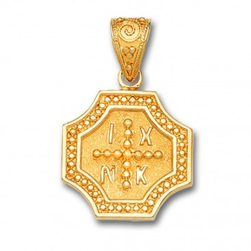 14K Solid Gold Conqueror's Cross Constantinato Octagon Pendant B