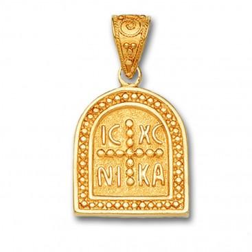 14K Solid Gold Conqueror's Cross Constantinato Half Oval Pendant