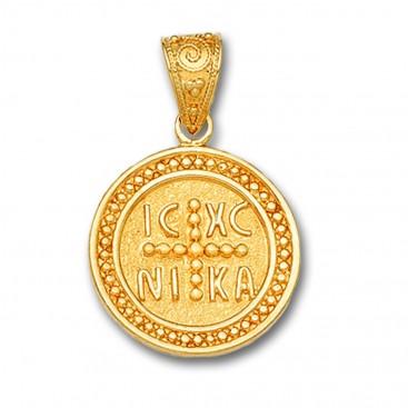 14K Solid Gold Conqueror's Cross Constantinato Round Pendant A