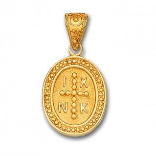 14K Solid Gold Conqueror's Cross Constantinato Oval Pendant A