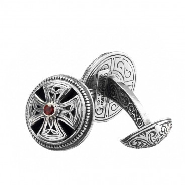 Gerochristo 7185N ~ Sterling Silver & Garnet Medieval Cross Cufflinks
