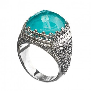 Gerochristo 2860N ~ Sterling Silver Medieval-Byzantine Cocktail Ring with Doublet Stone