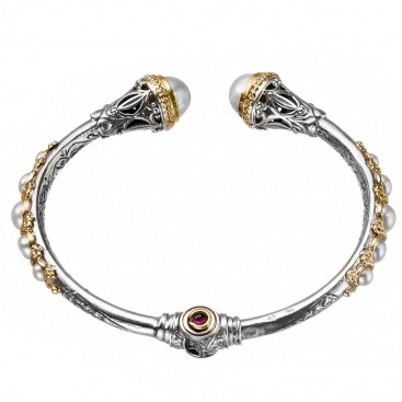 Gerochristo 6345N ~ Solid Gold, Silver and Pearls Medieval Cuff Bracelet
