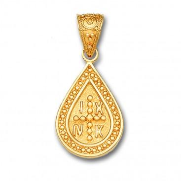 14K Solid Gold Conqueror's Cross Constantinato Drop Pendant A