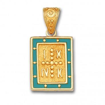 14K Solid Gold and Hot Enamel Conqueror's Cross Constantinato Rectangle Pendant A