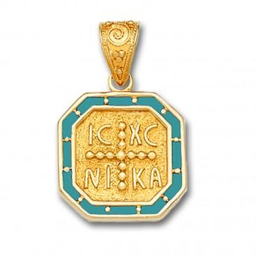 14K Solid Gold and Hot Enamel Conqueror's Cross Constantinato Octagon Pendant