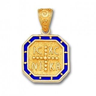 14K Solid Gold and Hot Enamel Conqueror's Cross Constantinato Octagon Pendant