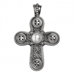 Gerochristo 5409N ~ Sterling Silver & Pearl Byzantine Cross Pendant