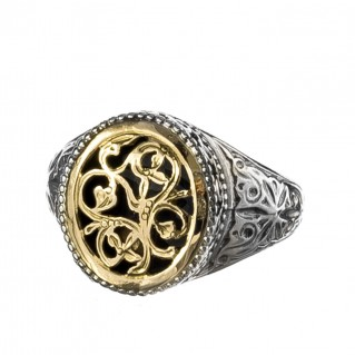 Gerochristo 2334N ~ Solid Gold & Silver Medieval-Byzantine Filigree Chevalier Ring