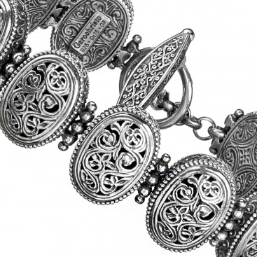 Gerochristo 6287N ~ Sterling Silver Medieval-Byzantine Filigree Bracelet