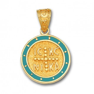 14K Solid Gold and Hot Enamel Conqueror's Cross Constantinato Round Pendant A