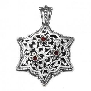 Gerochristo 3087N ~ Sterling Silver Medieval-Byzantine Filigree Floral Pendant