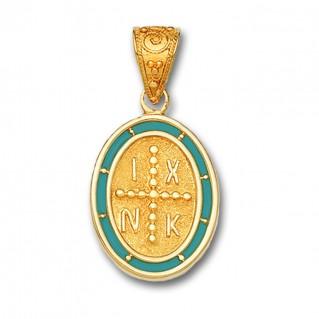 14K Solid Gold and Hot Enamel Conqueror's Cross Constantinato Oval Pendant A