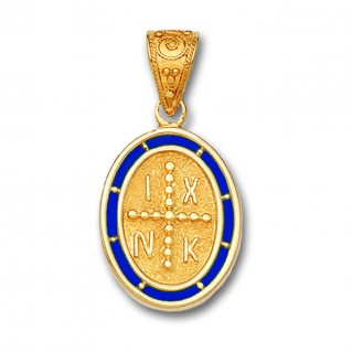 14K Solid Gold and Hot Enamel Conqueror's Cross Constantinato Oval Pendant A