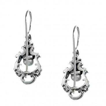 Gerochristo 1433N ~ Sterling Silver & Stones Medieval Drop Earrings