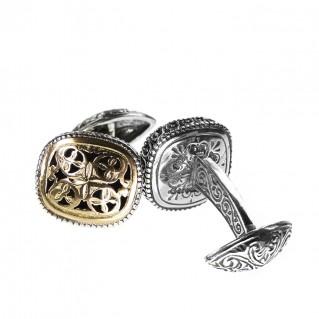 Gerochristo 7168N ~ Solid Gold & Silver Medieval Byzantine Filigree Cufflinks