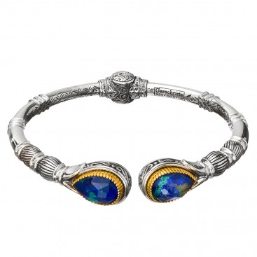 Gerochristo P6373N ~ Sterling Silver Medieval-Byzantine Cuff Bracelet with Doublet Stones