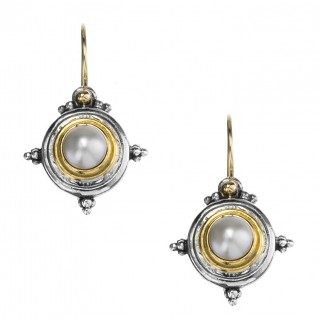 Gerochristo 1018N ~ Solid Gold, Silver & Pearls Medieval Drop Earrings