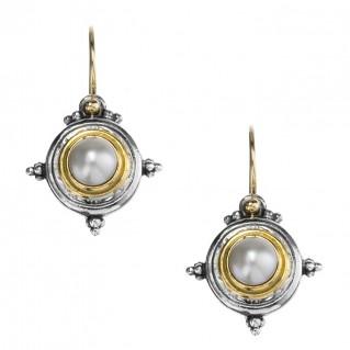Gerochristo 1018N ~ Solid Gold, Silver & Pearls Medieval Drop Earrings