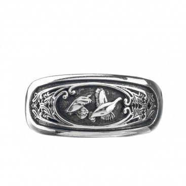 Gerochristo 2952N ~ Sterling Silver Band Ring with Couple of Birds