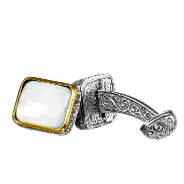 Gerochristo P7122N ~ Sterling Silver & Mop Medieval-Byzantine Cufflinks