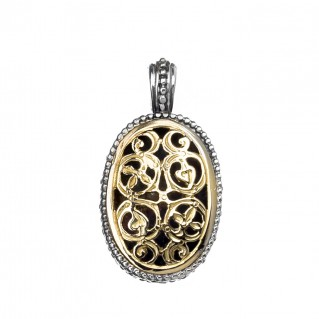 Gerochristo 1110N ~ Solid Gold & Silver Medieval-Byzantine Filigree Pendant